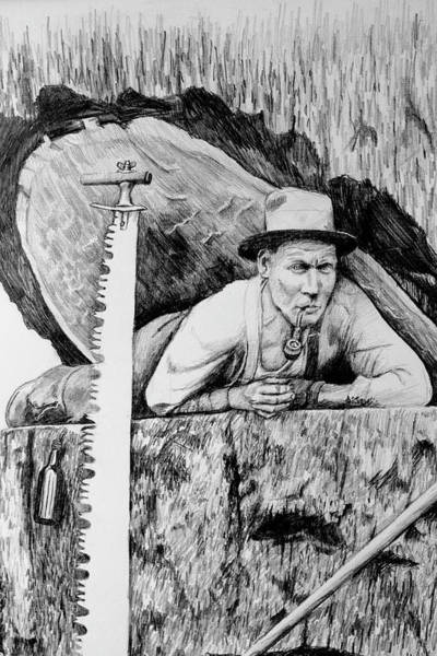 Lumberjacks Drawing - Loggers Detail 4 by James Deady