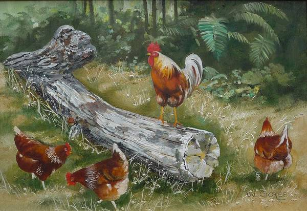 Painting - Logging On by Val Stokes