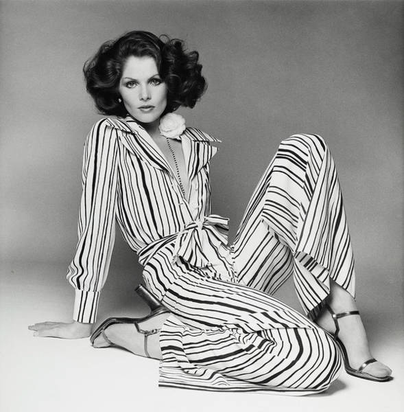 Lois Chiles Wearing A Striped Pajama And Blouse Art Print