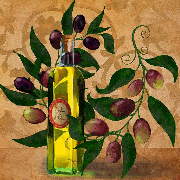 Olive Oil Painting - l'Olivo d'Oliva, Olives, Italian food Olive Oil kitchen art by Tina Lavoie