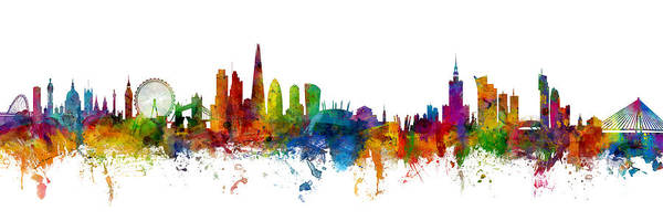 Wall Art - Digital Art - London And Warsaw Skylines Mashup by Michael Tompsett