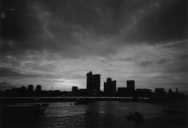 Photograph - London At Sunset 1996  Black And White by Erik Paul