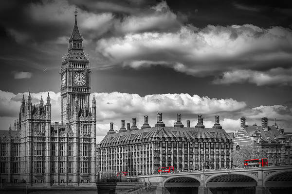 London Big Ben And Red Bus Art Print