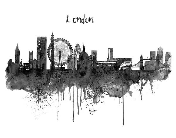London Black And White Skyline Watercolor Art Print