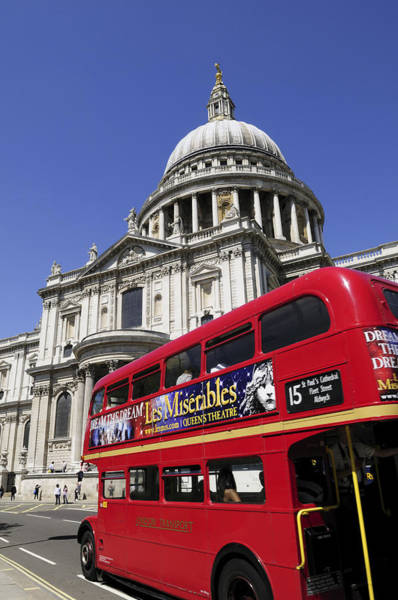 Wall Art - Photograph - London Bus And St Pauls Cathedral by Liz Pinchen