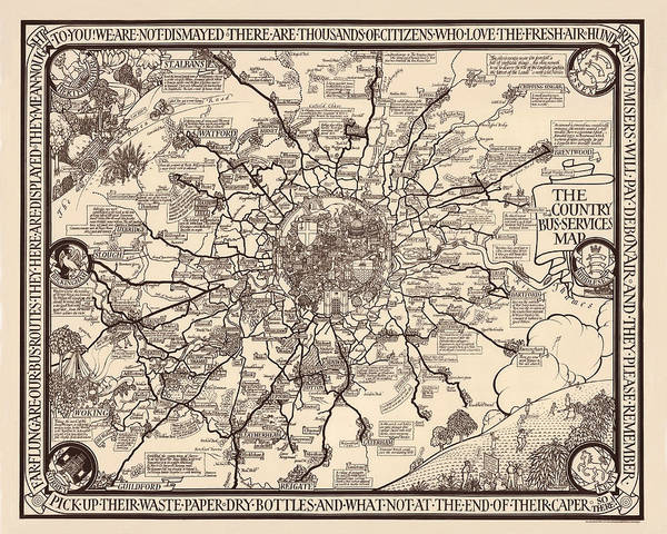 Photograph - London Bus Map 1928 by Andrew Fare