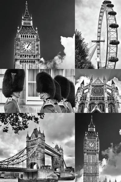 Westminster Bridge Photograph - London Collage Bw by Mihaela Pater