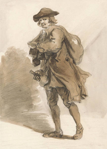 Drawing - London Cries - A Man With A Bottle by Paul Sandby