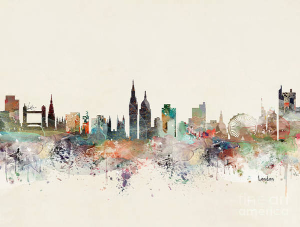 United Kingdom Painting - London England City Skyline by Bri Buckley