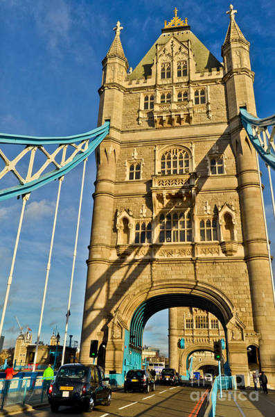 Photograph - London - England - The Tower Bridge Vertical With A Black Cab by Carlos Alkmin