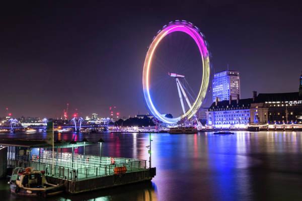 Photograph - London Eye By Night by Jacek Wojnarowski