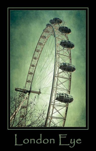 Photograph - London Eye Green Poster by Joan Carroll
