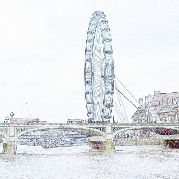 Millenium Photograph - London Eye In Pencil by Sharon Lisa Clarke