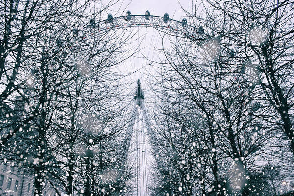 London Eye Photograph - London Eye Snow by Martin Newman