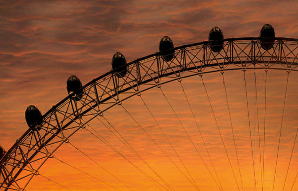London Eye Photograph - London Eye Sunset by Martin Newman