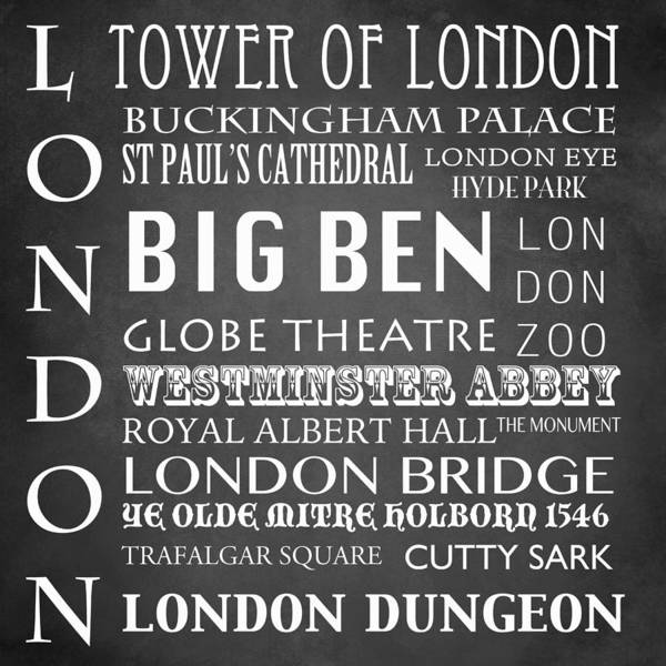 Famous Places Digital Art - London Famous Landmarks by Patricia Lintner