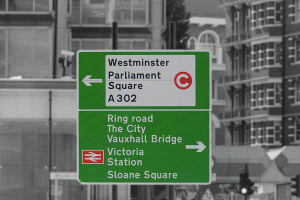 Photograph - London Green Direction Road Sign by Jacek Wojnarowski