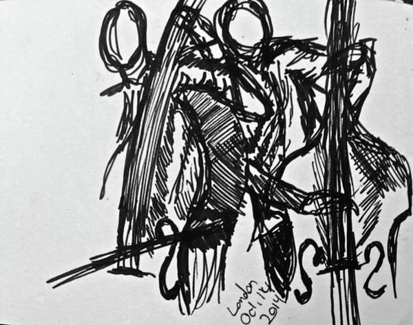 Wall Art - Drawing - London Jazz Night by Rika Maja Duevel