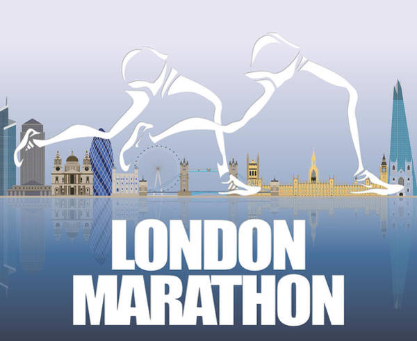 Athens Marathon Wall Art - Mixed Media - London Marathon 1 by Joe Hamilton