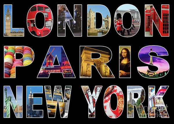 Wall Art - Digital Art - London Paris New York, Black Background by MGL Meiklejohn Graphics Licensing