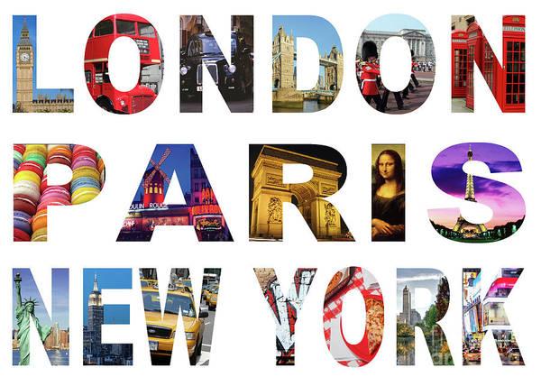 Wall Art - Digital Art - London Paris New York, White Background by MGL Meiklejohn Graphics Licensing