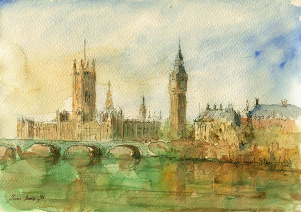 United Kingdom Painting - London Parliament by Juan  Bosco