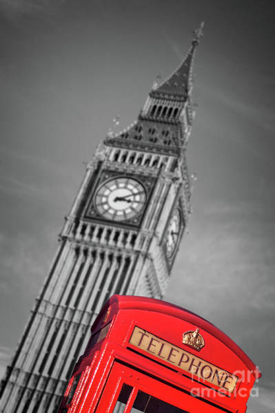 Wall Art - Photograph - London Phone Booth And Big Ben by Delphimages Photo Creations