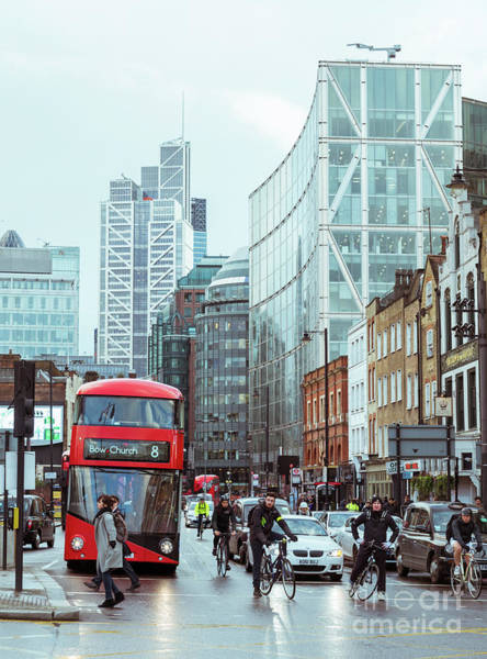 Photograph - London Red Bus At The Edge Of The City by Alexandre Rotenberg