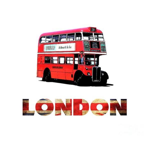 Digital Art - London Red Double Decker Bus Tee by Edward Fielding
