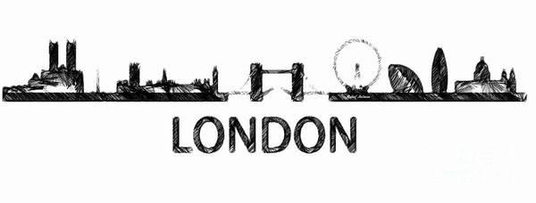 Digital Art - London Silouhette Sketch  by Rafael Salazar