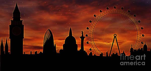 Tourism Wall Art - Digital Art - London Skyline At Dusk by Michal Boubin
