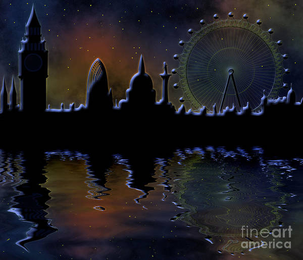 Tourism Wall Art - Digital Art - London Skyline At Night by Michal Boubin