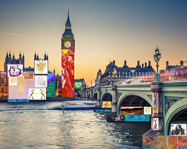 Digital Art - London Skyline Collage 3 Inc Big Ben, Westminster  by Julia Woodman