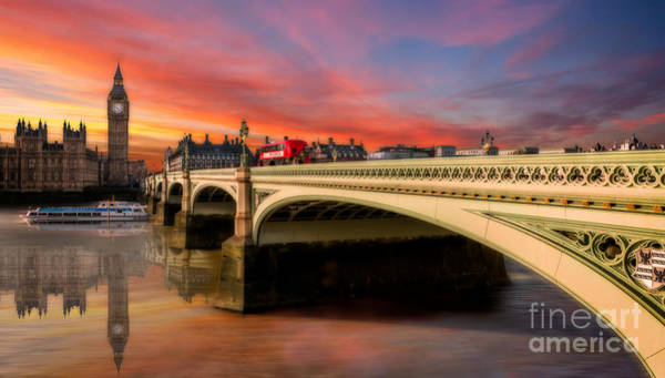 Westminster Bridge Photograph - London Sunset by Adrian Evans