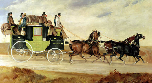 Victorian Era Painting - London To Bristol And Bath Stage Coach by Charles Cooper Henderson
