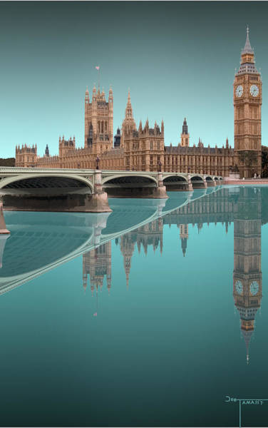 Aqua Tower Digital Art - London Tower Bridge Reflection Aqua by Joe Tamassy