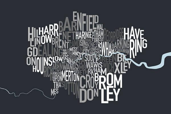 London Uk Text Map Art Print