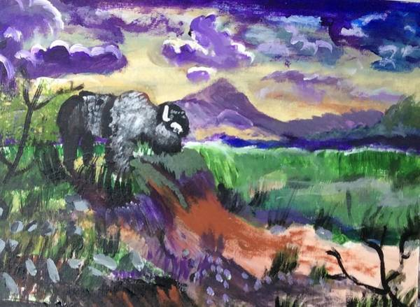 Wall Art - Painting - Lone Bison by Julie Thomas-Zucker