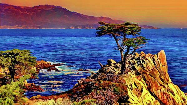 Cypress Digital Art - Lone Cypress - Carmel By The Sea by Russ Harris