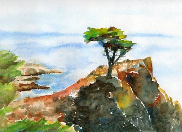 West Bay Painting - Lone Cypress Pebble Beach Fog by Carlin Blahnik CarlinArtWatercolor