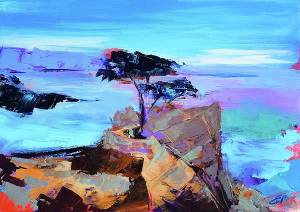 California Wall Art - Painting - Lone Cypress - California by Elise Palmigiani