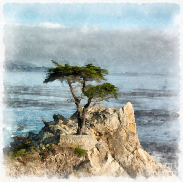 California Coast Digital Art - Lone Cypress Watercolor by Edward Fielding