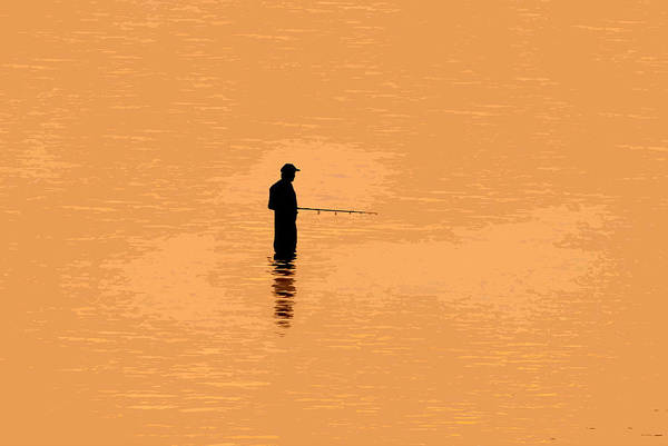 Angling Art Painting - Lone Fisherman by David Lee Thompson