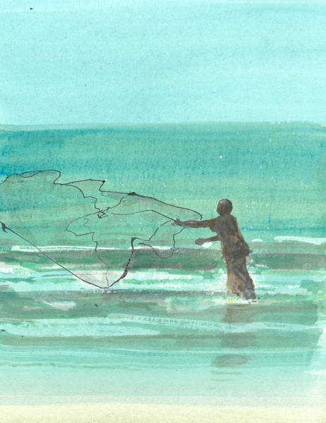 Netting Painting - Lone Fisherman One by Lincoln Seligman