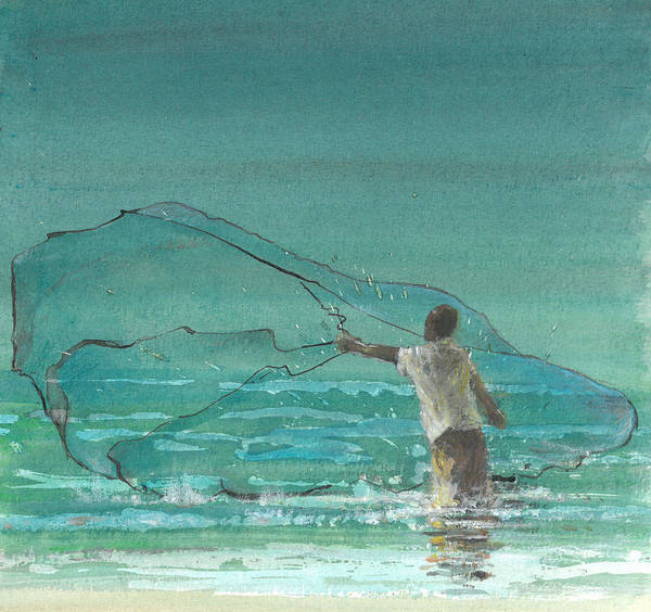 Netting Painting - Lone Fisherman Three by Lincoln Seligman