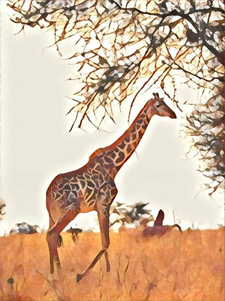 Kenya Mixed Media - Lone Giraffe by Lori Allen