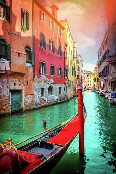 Venezia Photograph - Lone Gondola In Venice Italy  by Carol Japp