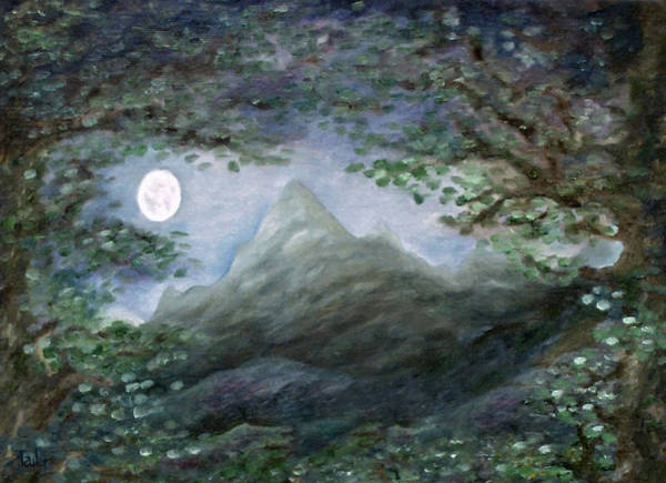 Painting - Lone Mountain Moon by FT McKinstry