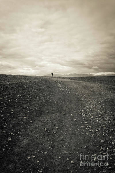Volcanic Craters Photograph - Lone Remote Hiker Iceland by Edward Fielding