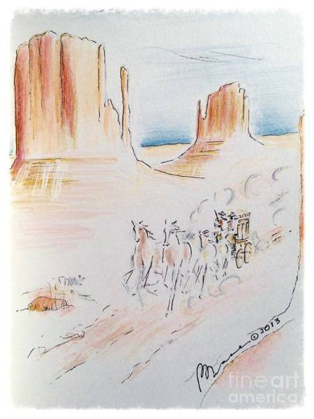 Risk Drawing - Lone Stagecoach by Barbara Chase